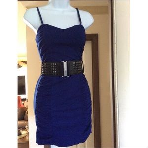 Royal Blue Mini Dress, with ruche detail and belt